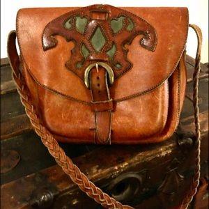 Vintage saddle leather purse, braided strap